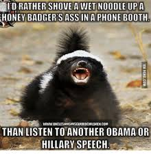 Honeybadger Meme - id rather shove a wet noodle up a honey badger sass in a phone