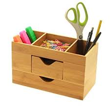 Bamboo Desk Organizer Bamboo Desk Organiser Tidy Stationery Box With 2 Drawers