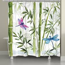 Dragonfly Shower Curtains Bamboo Dragonflies Shower Curtain Laural Home