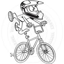 cartoon bmx bike black and white line art by ron leishman toon
