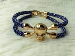 gold skull bracelet men images Fashionable men 39 s genuine wrap stingray leather top lever luxury jpg