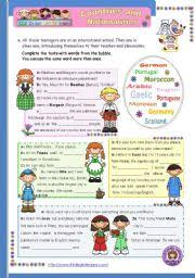 english worksheet countries and nationalities 1st in a series of