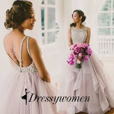 beading wedding dresses gown neck backless wedding dress with beading