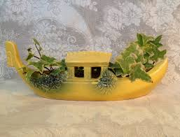mccoy planter art pottery gondola boat yellow and green