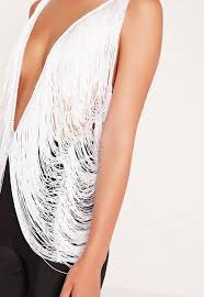 Drape Top Fringed Drape Top White Missguided