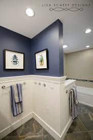 boys bathroom in navy blue
