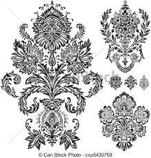 eps vectors of vector damask ornament set set of vector damask