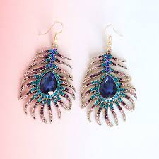 peacock feather earrings peacock feather earrings by junk jewels notonthehighstreet