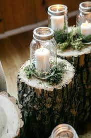 jar candle ideas these rustic wood stumps with moss and jar candle