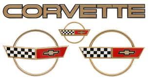 c4 corvette emblem c4 corvette 1984 1990 gold emblem set corvette mods