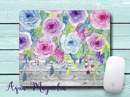 aqua blue desk accessories watercolor flowers weathered wood personalized desk accessory