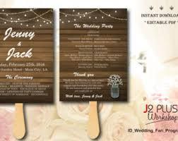 rustic wedding fan programs diy fan programs etsy