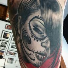 day of the dead sugar skull by damian robertson tattoonow