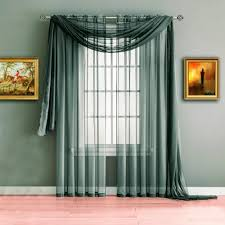 gray charcoal extra long window scarf valance or sheer curtains