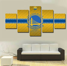 2017 golden state warriors 5 piece canvas painting golden 5 panel framed golden state warriors nba wall art canvas