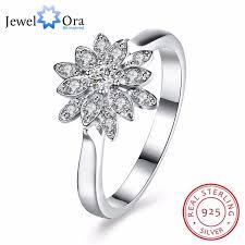 design modeschmuck solide 925 sterling silber ring blumen design cz romantische
