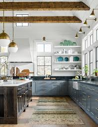 blue kitchen cabinets with copper hardware 25 winning kitchen color schemes for a look you ll