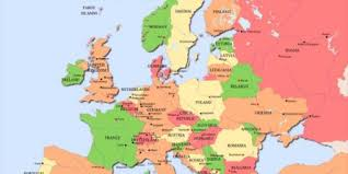 a map of europe with countries map of europe with countries and capitals within cities