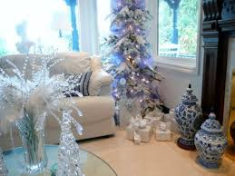 White Christmas Tree With Blue Decorations White And Silver Christmas Tree Christmas Lights Decoration