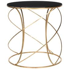 cuisine cagne chic safavieh cagney gold and black glass top end table fox2535b the