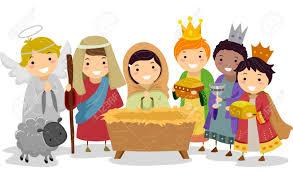 illustration of stickman kids playing nativity scene in
