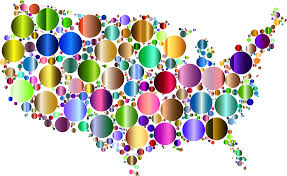 United States Map Art by Clipart Prismatic United States Map Circles 4