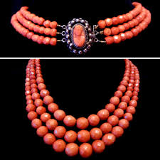 coral necklace antique images 104 grams antique 19th century natural faceted red coral necklace jpg