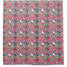 Coral And Grey Shower Curtain Modern Paisley Shower Curtains Zazzle
