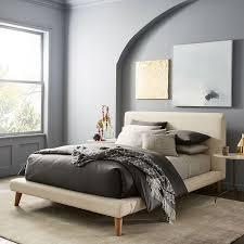 Upholstered Bed Frame Full Mod Upholstered Platform Bed Micro Boucle West Elm