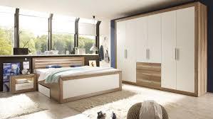 Komplett Schlafzimmer Mit Boxspringbett Fernando Canyon Oak Weiß Komplett Mit Sideboard
