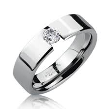mens diamond engagement rings modern tension set cz tungsten carbide mens engagement ring 8mm