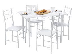 achat table cuisine table de cuisine 4 chaises métal bois blanc combo