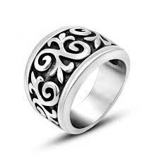 mens stainless steel rings 15mm wide men s vintage bands scroll rings 316l stainless steel