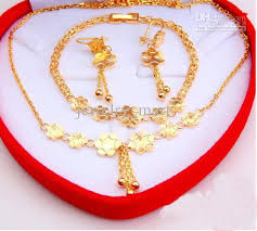 gold earrings for marriage 2018 gold plated fashion jewelry set necklace bracelet
