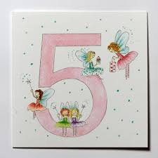 girls hand drawn 5th birthday card with fairies