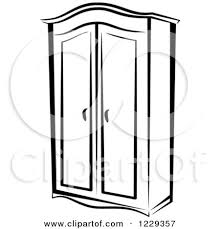 clipart of a black and white wardrobe closet royalty free vector