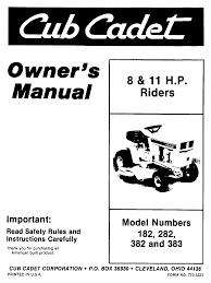 cub cadet lawn mower 383 user guide manualsonline com