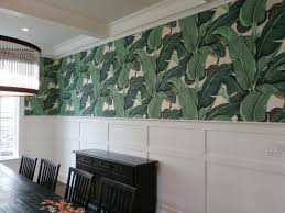plaue painting and paperhanging palm frond wallpaper pattern in