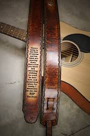 Confederate Flag Guitar Strap Custom Engraved Leather Guitar Strap Handtooled Scallop Border