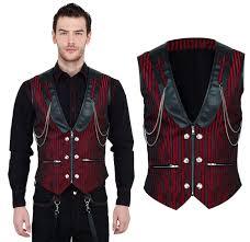 vintage goth steampunk men vest brocade black red vg16419 cosfee