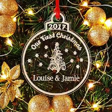personalised our 1st christmas as mr u0026 mrs jigsaw acrylic tree