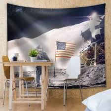 tapestry home decor man on the moon with the american flag fabric tapestry home