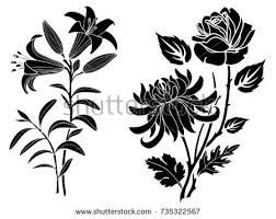 set silhouettes elements roses tattoo stock vector 414722203