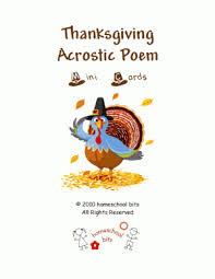 thanksgiving acrostic poem mini cards homeschool bits mini