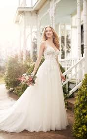 a line wedding dress with illusion lace bodice martina liana