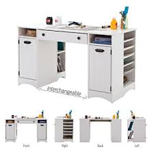 Amazon Com South Shore Artwork Craft Table With Storage Pure White