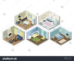 Flat House Design Vector Isometric Sat Home Flat Furniture Stock Vector 561867250