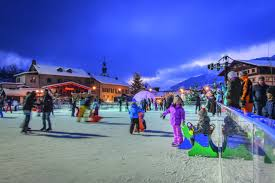 outdoor ice rink in megève french alps savoie mont blanc