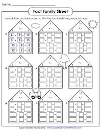 number fact families number family worksheets addition and subtraction