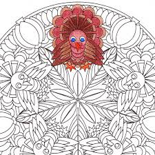 thanksgiving mandala coloring turkey printable